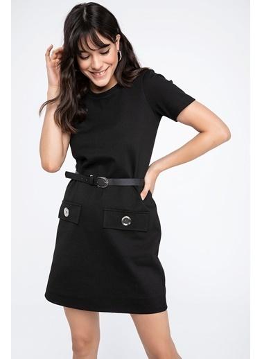 DeFacto Düğmeli Kısa Kollu Elbise Siyah